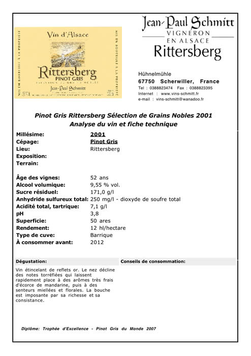 fiche technique pinot gris rittersberg selection de grains nobles 2001